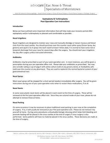 post operative instructions septoplasty