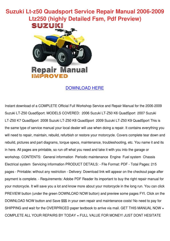 suzuki quadsport z50 owners manual