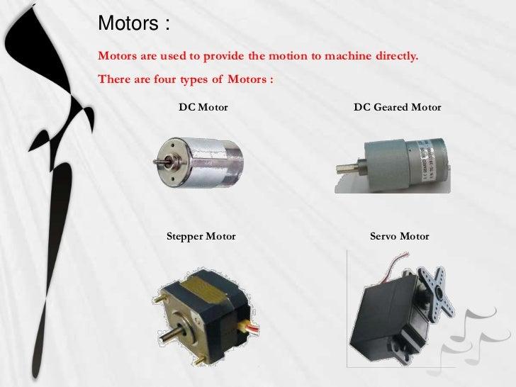 Types of motors used in robotics pdf