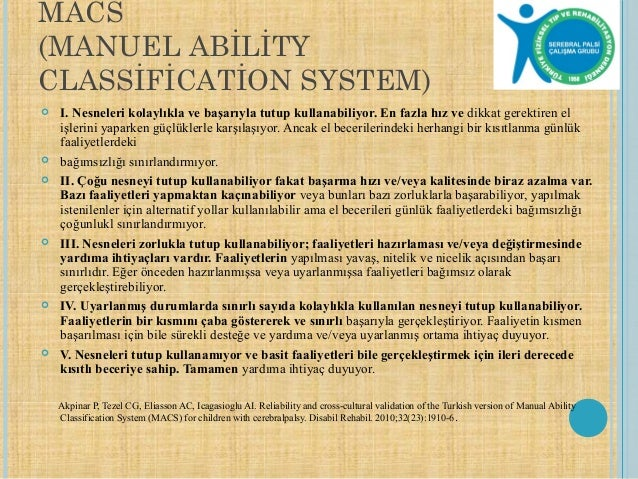 Macs manual ability classification system