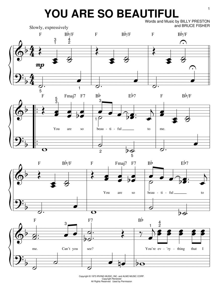 Joe cocker you are so beautiful piano pdf