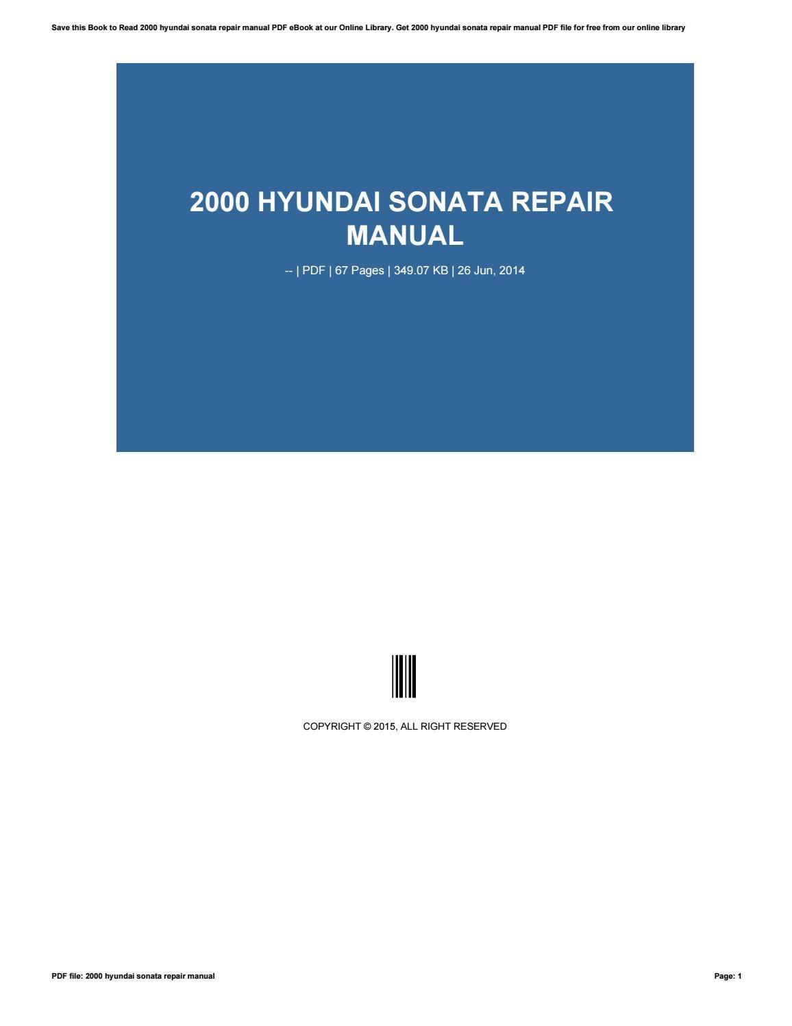 2007 hyundai sonata repair manual free