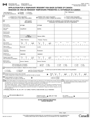 Application for temporary resident visa imm 5257 june 2014