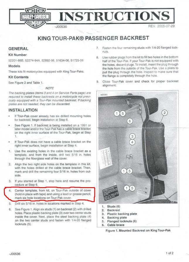 Harley davidson backrest install instruction