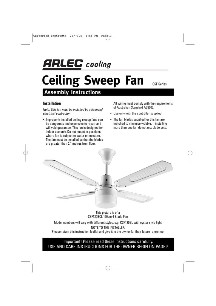 arlec boston dcf5241 ceiling fan install instructions