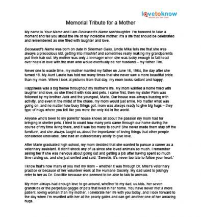 Example funeral eulogy for mother