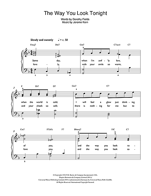 The way you look tonight piano sheet music free pdf