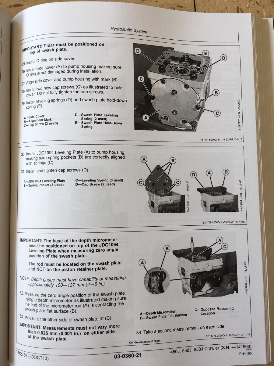 john deere 450j dozer service manual