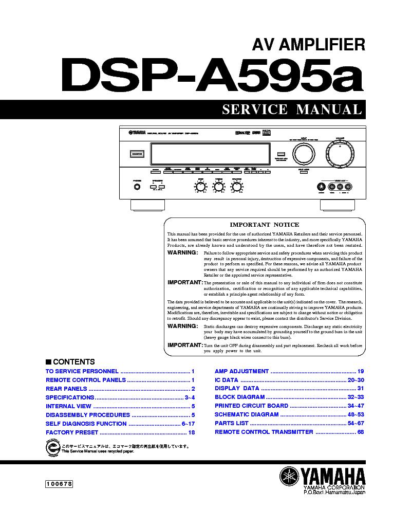 Yamaha rx v450 service manual