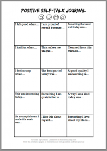 Positive self talk worksheet pdf