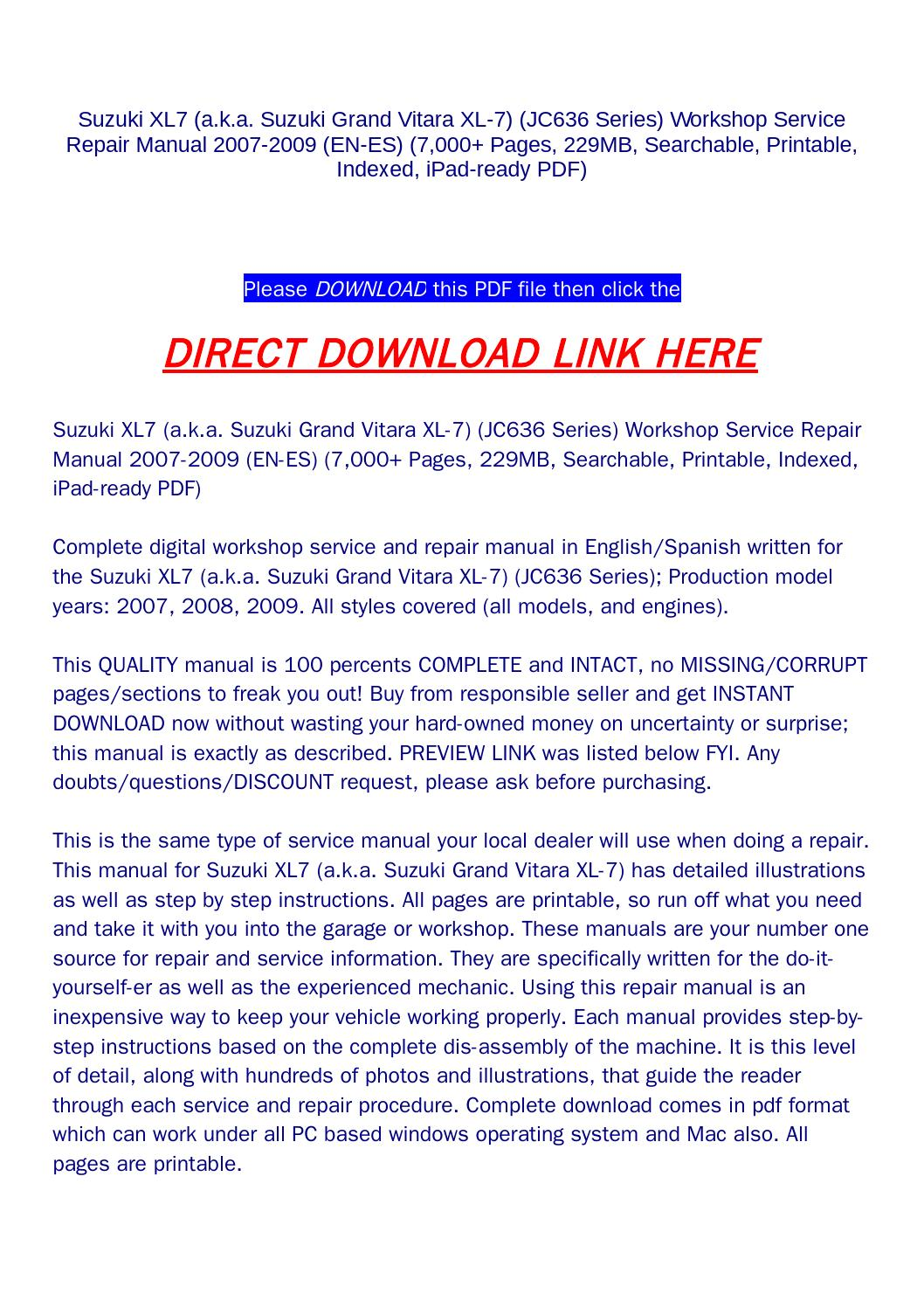 suzuki grand vitara 2007 manual pdf