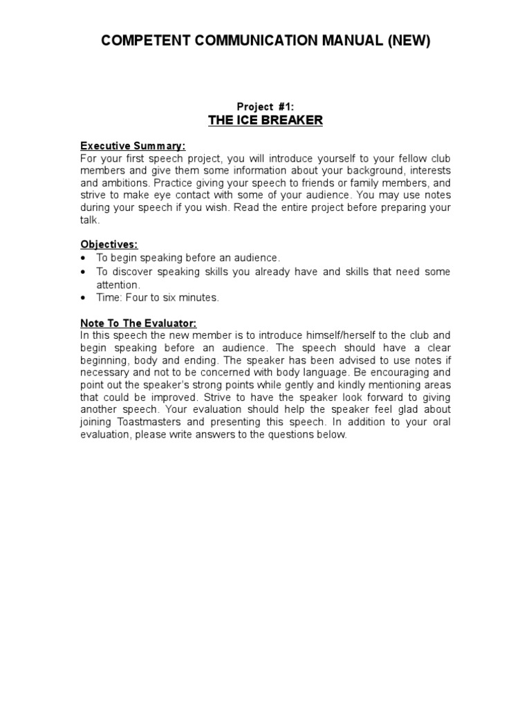 Toastmasters speaking to inform manual pdf
